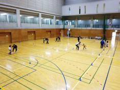 三芳町総合体育館での飛行練習